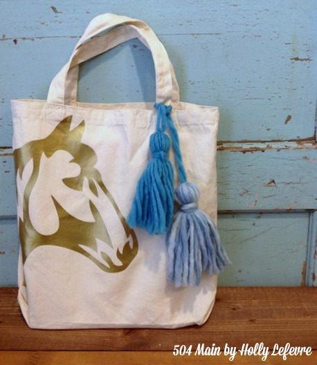 Heat Transfer Rustic Chic Horse Tote Bag
