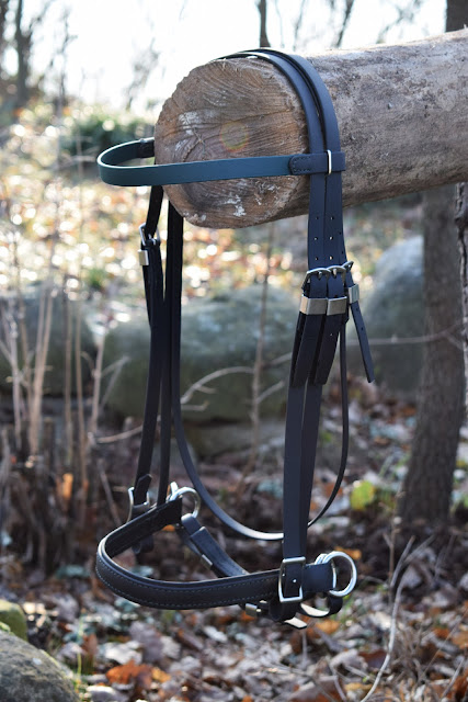Custom made Biothane bridle with swedish cavesson and sidepull attachment rings