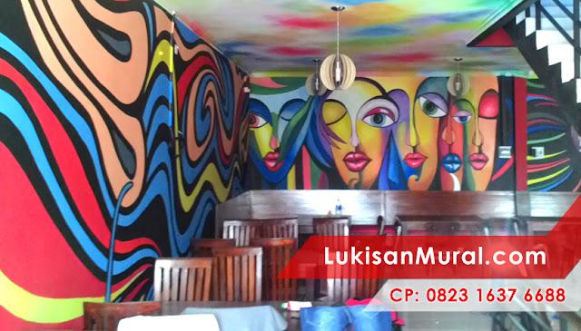 Mural graffiti jakarta untuk interior cafe pelukis mural for Mural untuk cafe