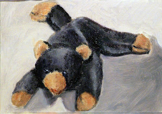brown or black bear teddy painting