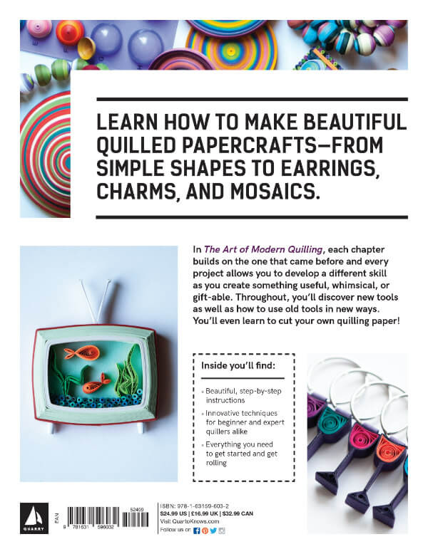 Back cover of The Art of Modern Quilling book showing colorful quilled projects