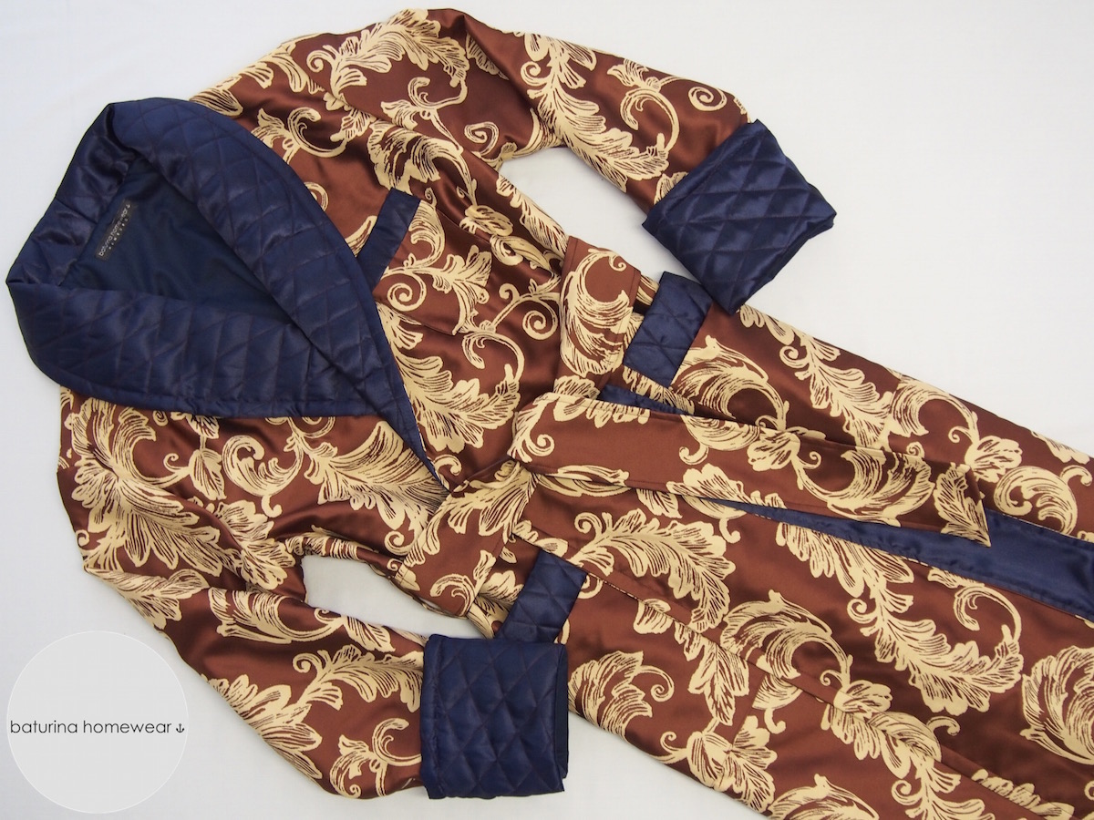 Men's Floral Jacquard Dressing Gowns In Silk And Cotton