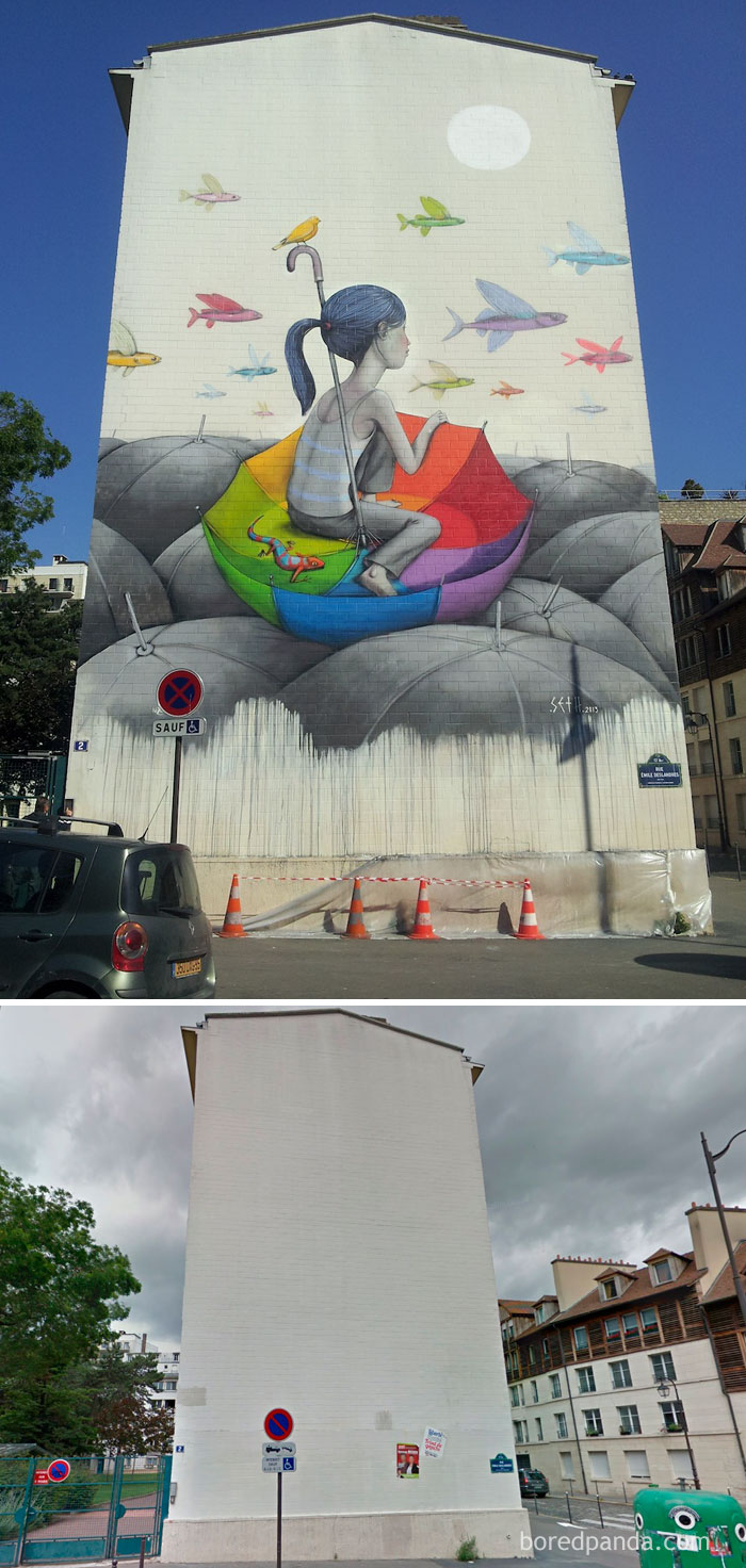 10+ Incredible Before & After Street Art Transformations That'll Make You Say Wow - Umbrella Mural, Paris, France
