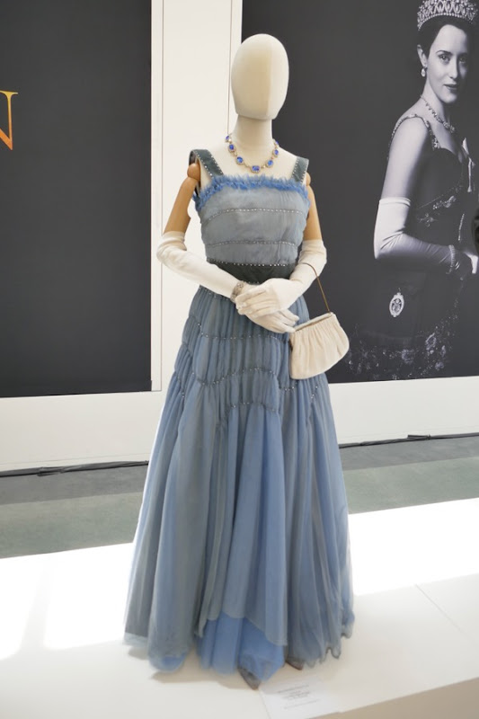 Crown season 2 Queen Elizabeth II blue dinner gown