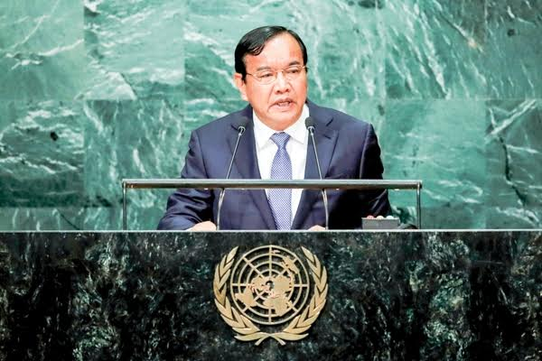 Foreign Minister Prak Sokhonn spoke at the United Nations General Assembly in New York on Saturday. Reuters