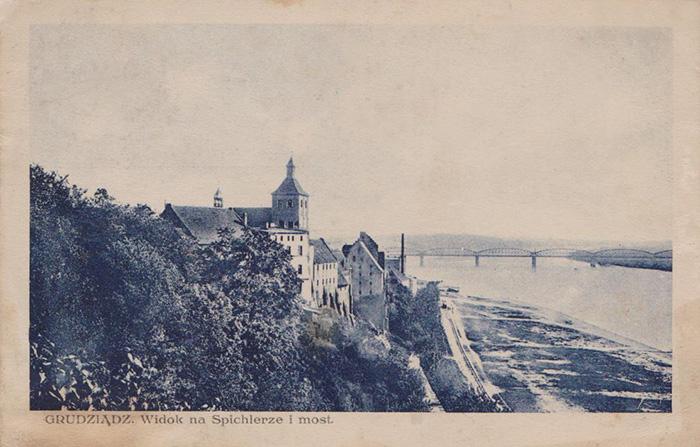 Grudziądz - Widok na spichlerze i most, lata 20-te
