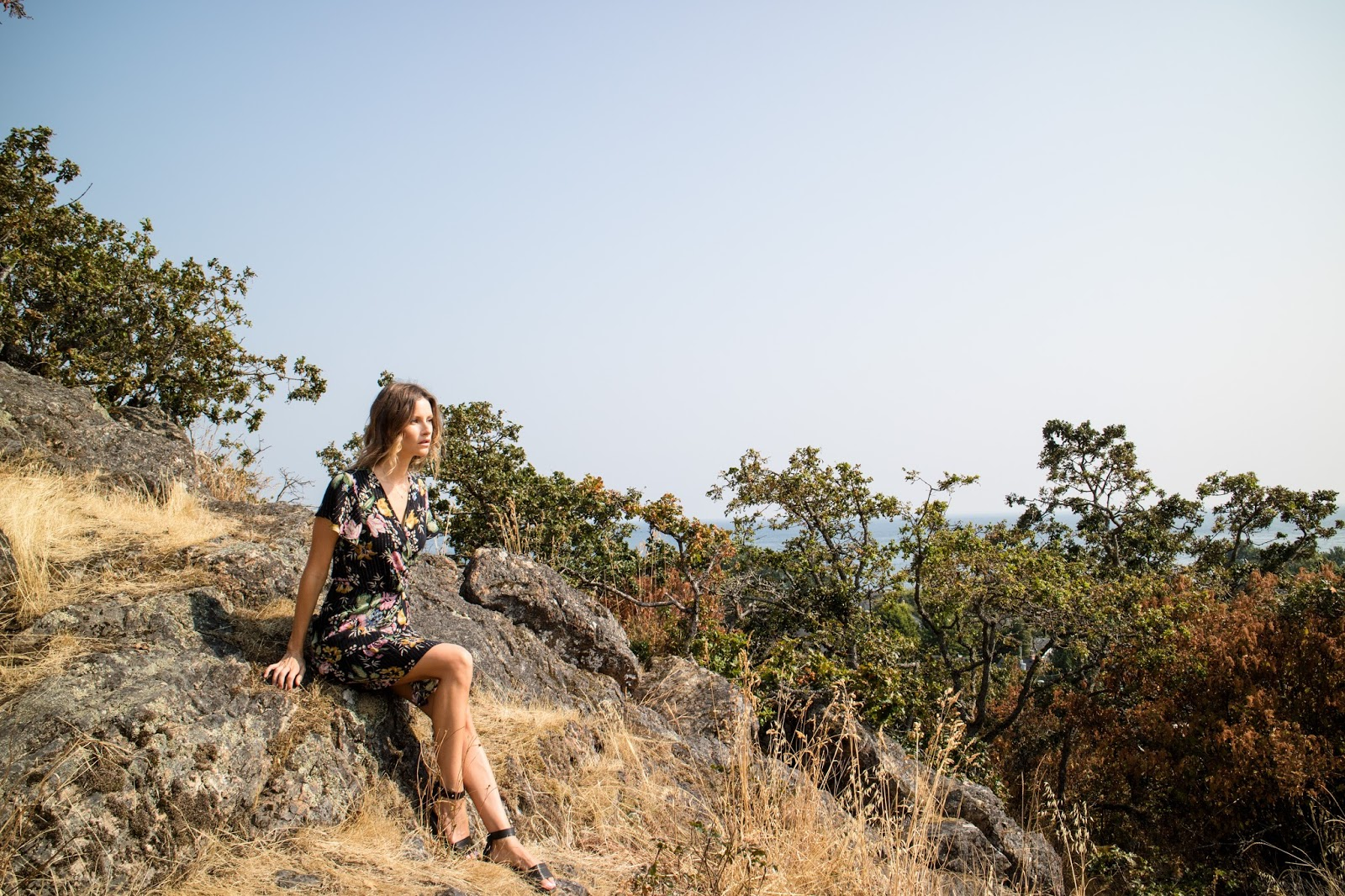 Fashion blogger, Alison Hutchinson, in an Auguste The Label Wrap Dress and Vince Sandals in Victoria, BC