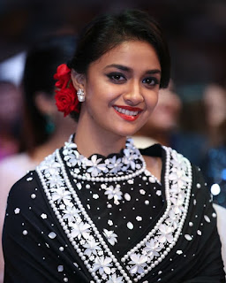 Keerthy Suresh in Black Saree at SIIMA Awards 2019 2