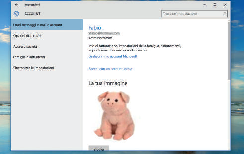 1. Account e modalità d'accesso windows 10 schermata Impostazioni di Windows 10