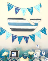 Whale party decor.