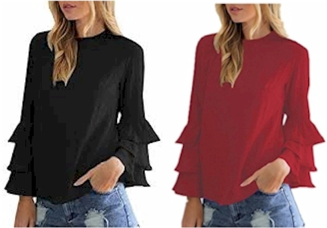 bedaf98f3b0cb Amazon has got this Styledome Blouse with Bell Sleeves for  14.89 to  16.99  with free Prime shipping and returns. It comes in four colors in sizes  4-22W.