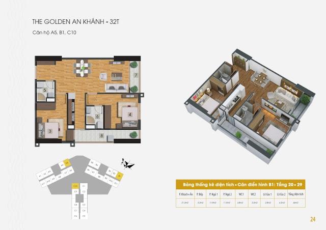 Mặt bằng căn hộ chung cư The Golden An Khánh