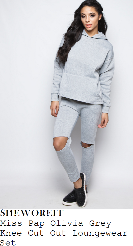 megan-mckenna-grey-marl-long-sleeve-pocket-detail-hoodie-sweatshirt-and-cut-out-split-knee-sweatpant-joggers-loungewear-tracksuit-instagram