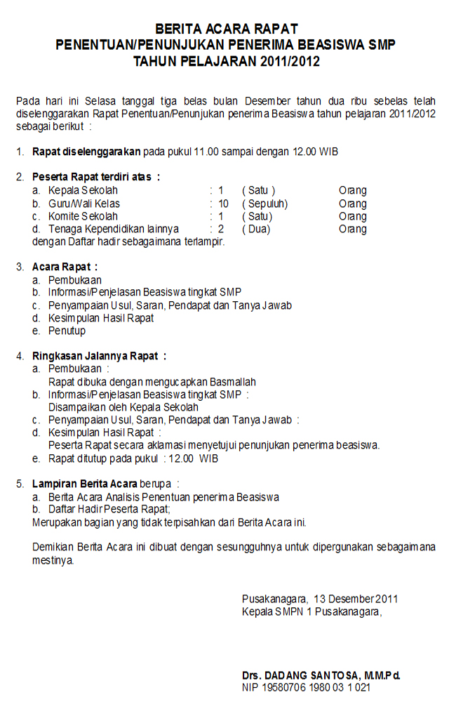 Contoh Surat Serah Terima Jabatan Ketua Koperasi