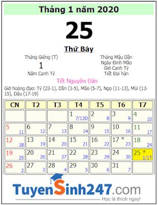Ngày 30 và ngày mùng 1 Tết 2020 là ngày mấy dương lịch
