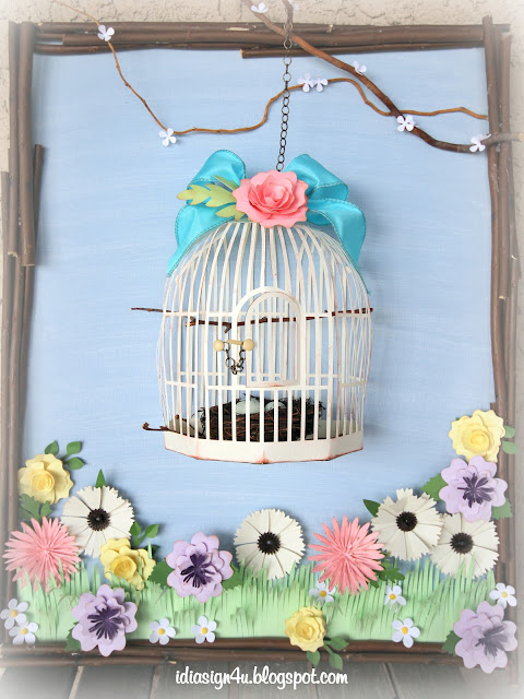 Spring Garden Bird Cage Canvas | Mixed Media Project for SVGCuts Challenge