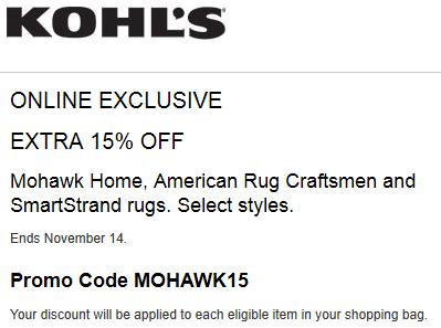 Kohls coupon 15% off Mohawk Home, American Rug Craftsmen