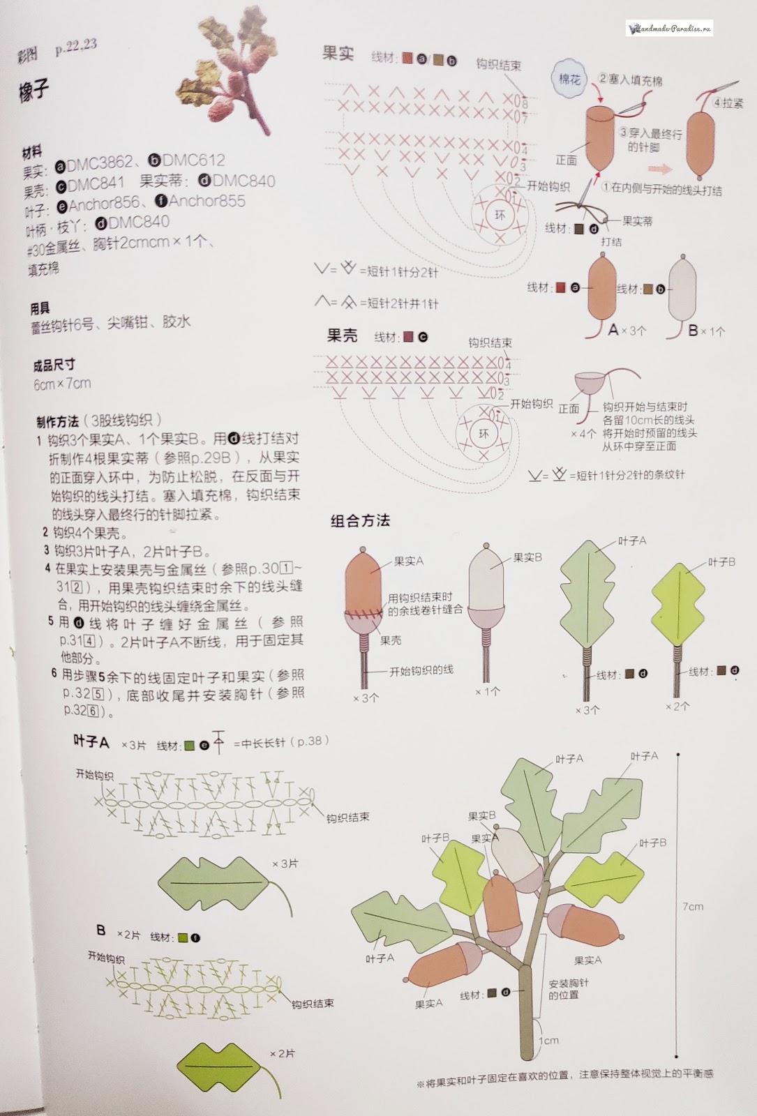 Брошь крючком «Дубовая ветка» (1)