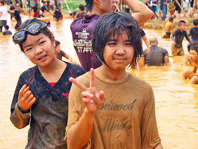 children, festival, mud, Golden Week, Japan, Okinawa