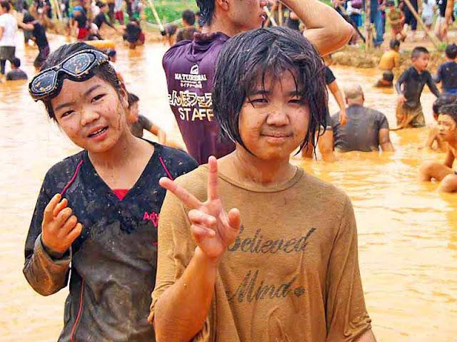 children, festival, mud, Golden Week, Japan, Okinawa