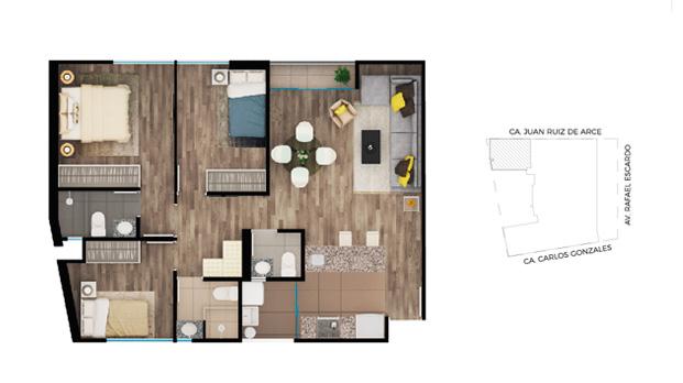 Planos departamentos de 75m2 planos de casas gratis y for Planos de departamentos de 40m2
