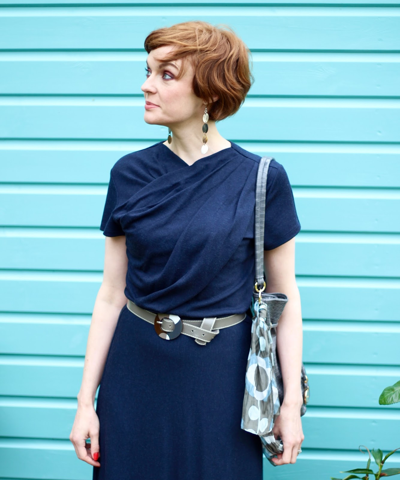 Fake Fabulous | Navy Finery Midi-dress, grey and taupe accessories & Chunky Vagabond sandals.