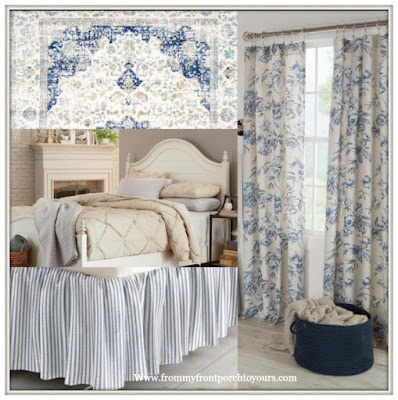 Master Bedroom-New House-Makeover-Blue-Gray-Reeves Bed-Floral Curtains-Ticking Stripe-From My Front Porch To Yours