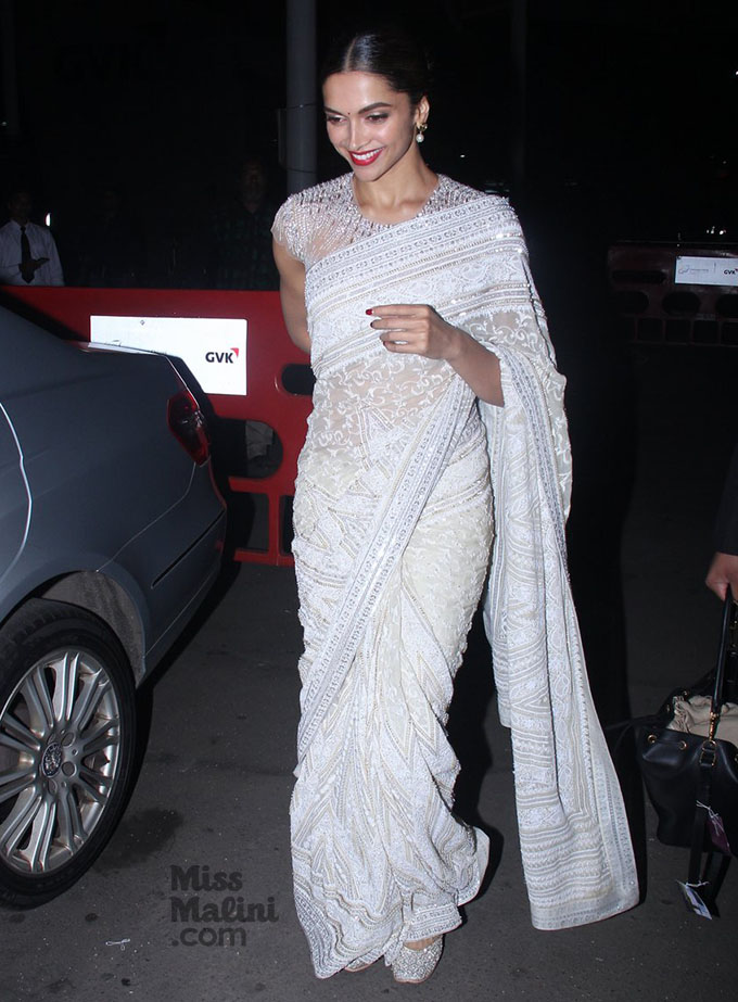 Deepika Padukone in saree, festive, fashion blog, Chamber of Beauty blog