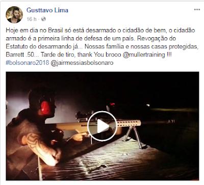 Cantor publica vídeo atirando com fuzil em apoio a Jair Bolsonaro