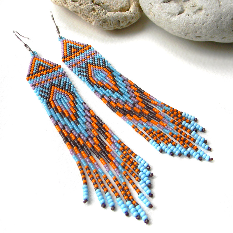 Boho style colorful seed bead earrings - beadwork jewelry - long beaded earrings