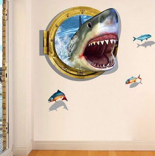 U-Shark 3D Self-adesive Removable Break Through the Wall Vinyl Wall Stickers /Murals Art Decals Decorator Kid's Favor