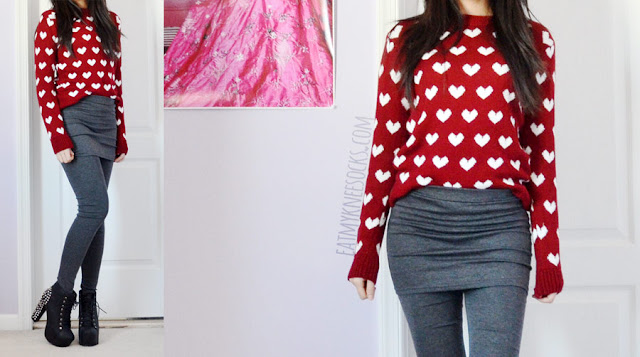 A cute winter outfit featuring a heart print wine red sweater, inset 2-in-1 dark gray leggings from Wholesalebuying, and spiked platform booties.