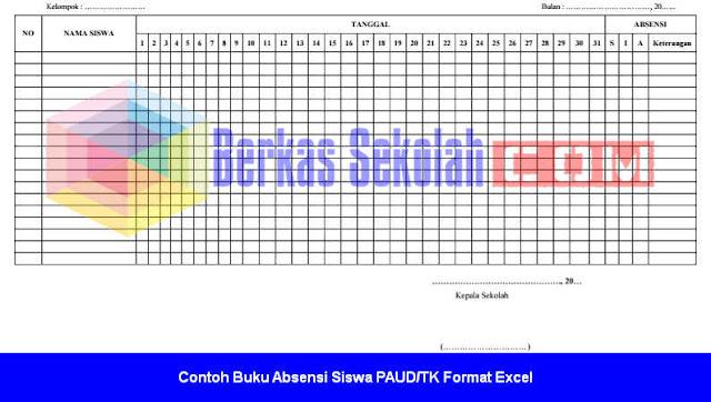Contoh Buku Absensi Siswa PAUD/TK Format Excel