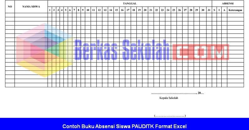 Contoh Buku Absensi Siswa Paud Tk Format Excel Berkas Sekolah