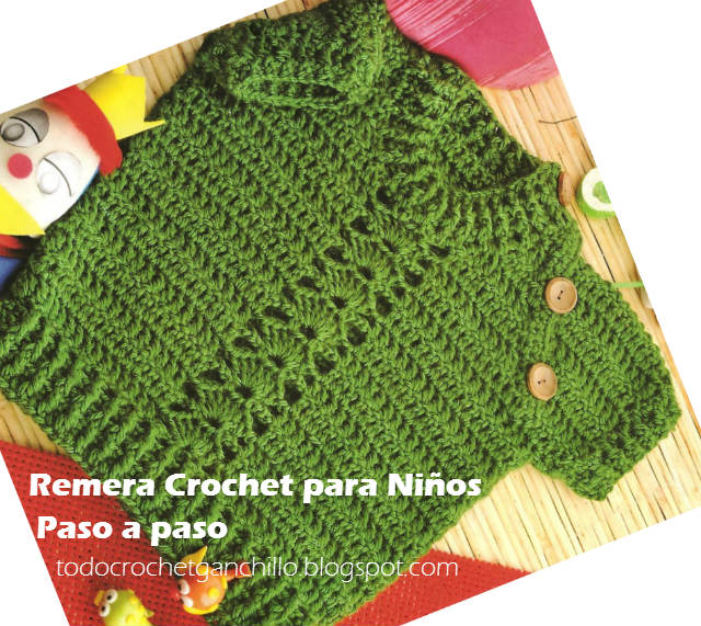 Cómo tejer chompa manga corta crochet para niño