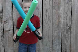 Lightsabers from Pool Noodles