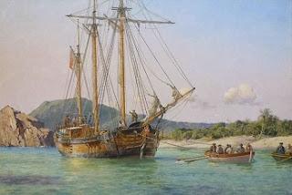 Goleta con piratas desembarcando en barcas para llegar a la isla del tesoro.