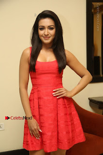 Actress Catherine Tresa Latest Pos in Red Short Dress at Intex Air Conditioners Launch  0025.jpg