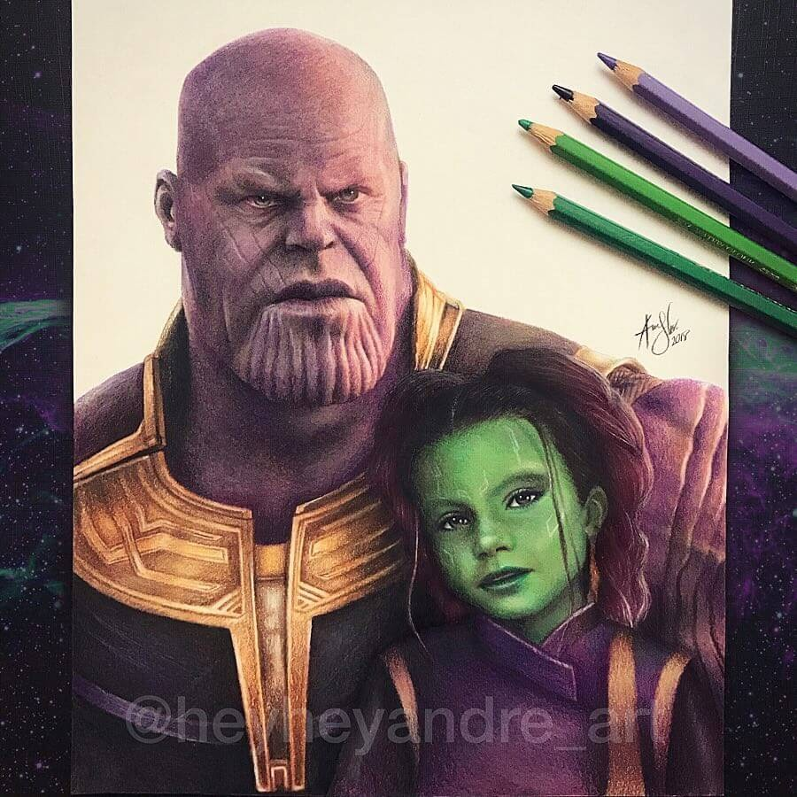 02-Thanos-and-Gamora-A-Manguba-Drawings-of-Celebrities-and-the-Zodiac-www-designstack-co