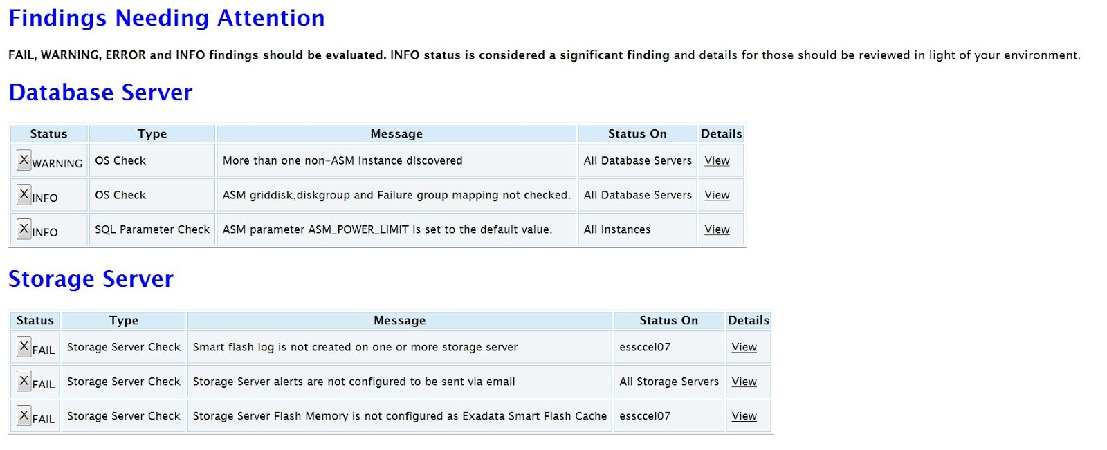 Oracle: How To Read Engineered System Exacheck Report ...