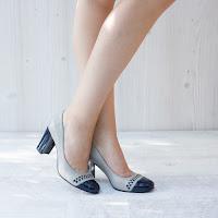 Pantofi dama Piele Jodion albastri si gri cu toc gros • modlet