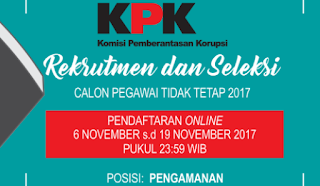 Lowongan kerja terbaru pegawai tidak tetap KPK 2017
