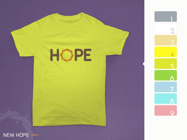 desain kaos hope diterapkan pada kain warna kuning pucuk