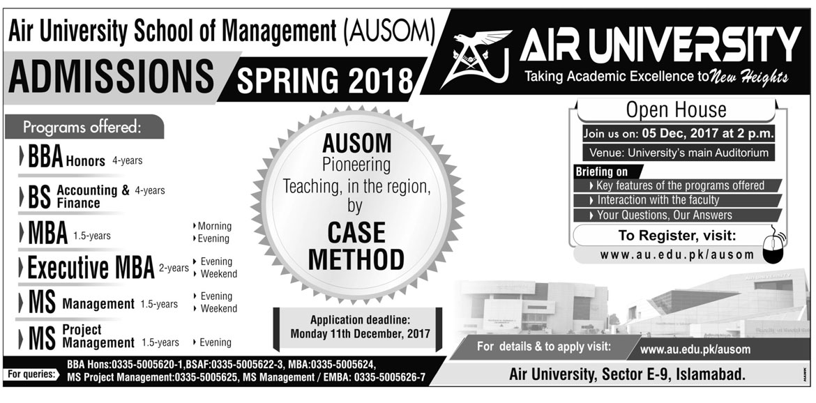 Admissions Open in Air University Islamabad