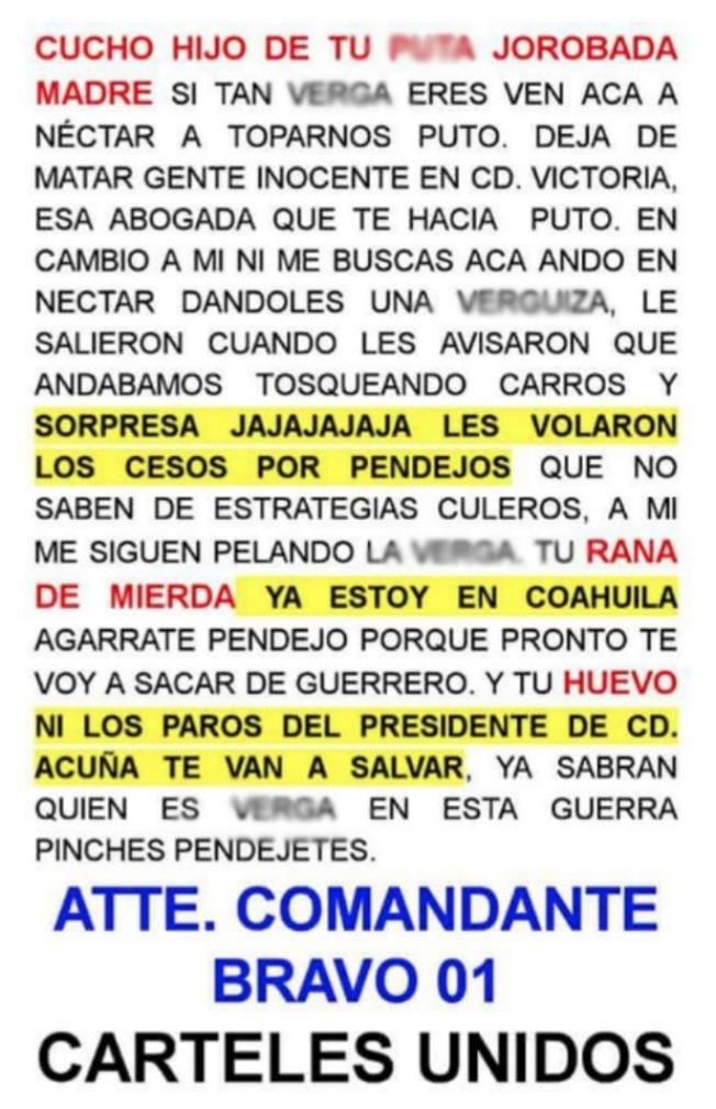 """Zetas """"B"""" amenazan con extender guerra a Coahuila """"""""ya sabrán quien es verg.. pendejetes Att: Comandante Bravo 01"""