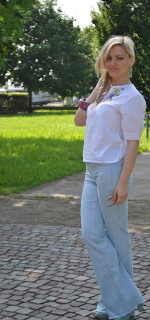 jeans a zampa zara con orlo sfilato flare jeans outfit outfit giugno 2016 mariafelicia magno fashion blogger colorblcok by felym fashion blog italiani blogger italiane influencer italiane ragazze bionde