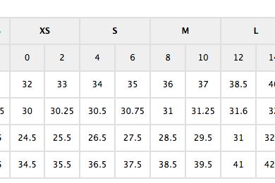 Ann Taylor Size Chart