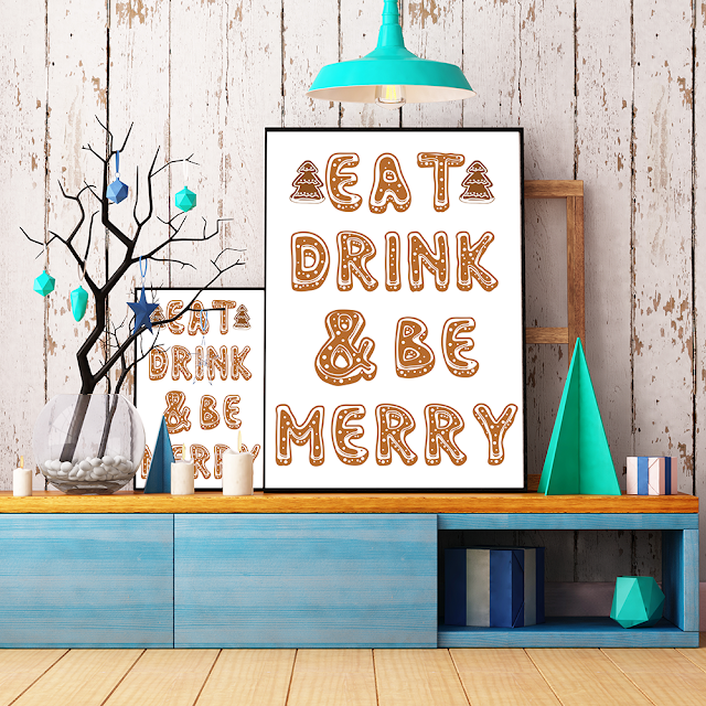 Eat Drink and be merry free christmas printable