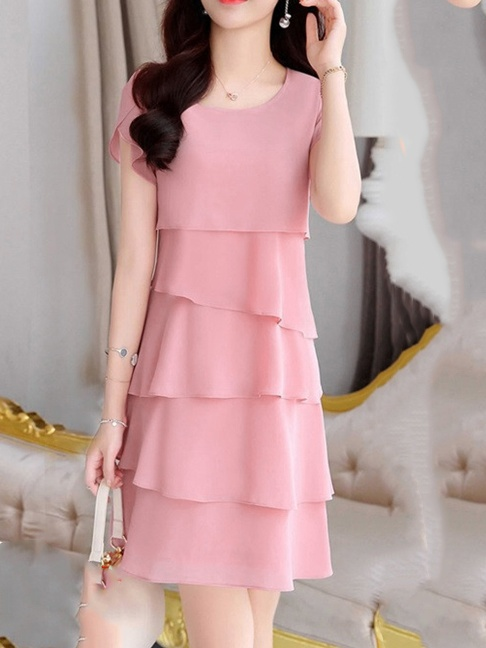 Summer Solid Layered Chiffon Shift Dress -Summer Sale Price: US$29.95