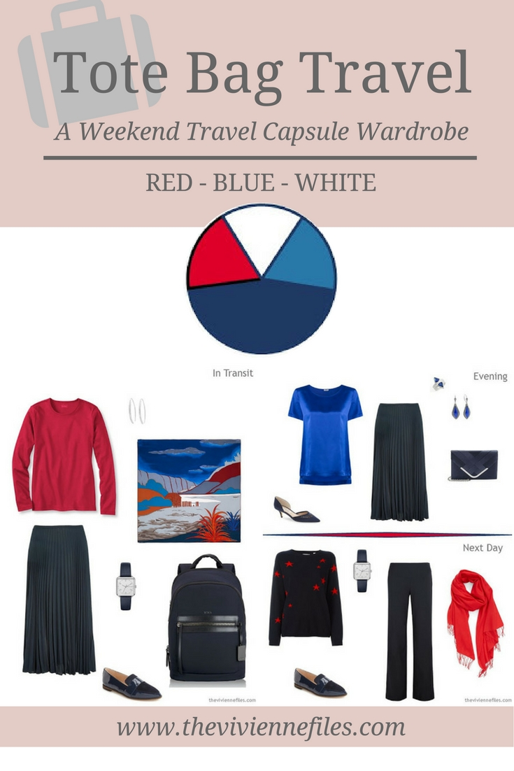 Tote Bag Travel Capsule Wardrobe In Red, Blue And White